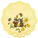 Espamira Tischdecke Ostern Gelb Mitteldecke Decke Osterdecke Pflegeleicht Polyester (Deckchen rund 30 cm)