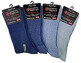 MissKokett 8 Paar Gesundheitssocken mit weitem Komfortbund ohne Gummibund & ohne Naht Herren Damen 100% Baumwolle, Blautöne - Gr. 39-42
