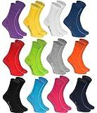 Rainbow Socks - Damen Herren Klassische Bunte Baumwolle Socken - 12 Paar - Schwarz Weiß Grau Lila Blau Marine Jeans Orange Rot Gelb Grün Fuchsie Grün - Größen 44-46