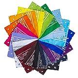 YHmall 14 Farben Bandana Damen Halstuch Tuch Herren Schal Paisley Kopftuch Halstuch, Nickituch, Doppelseitig Bedrucktes Bandanas, Herren und Damen Schal Paisley
