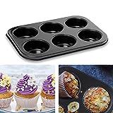 meleg otthon Mini-Muffinform Backblech für Muffins,Antihaft Muffinblech Antihaftbeschichtet Backblech Backform für süße und herzhafte Rezepte (6 Muffins)