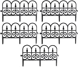 Garten Dekorative Zäune Gartenzaun Metall 5 Teiliger Zaunelementen Gartenzaun Dekorative Zaun Komplettset Zaun Metall Gartenzaun Metall Teichzaun Set Mit Zaunelementen Gartenzaun Beetzaun (Schwarz)