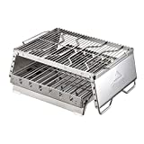 ZoSiP Grill BBQ Herd Grillofen Edelstahl Holzkohle Grill Tisch BBQ Grill for Picknick im Freien Camping Edelstahl-Bonfire BBQ-Grill (Color : Silver, Size : 31.5x29x19cm)