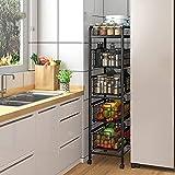 Aufbewahrungsregal für Obst und Gemüse, Küchenwagen auf Rollen, rollbarer Mehrzweckwagen mit 5 Etagen, Metallgeflecht, Aufbewahrungswagen für Gemüse, Schublade, Schieberegal, schwarz breit