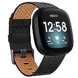 Vancle Kompatibel mit Fitbit Versa 3 Armband / Fitbit Sense Armband, Echtes Leder Ersatzband Armbänder Damen Herren für Fitbit Versa 3/Fitbit Sense (L, Schwarz)