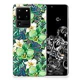 B2Ctelecom Handy Hüllen Cover Bumper Schutzhülle für Samsung Galaxy S20 Ultra Handytasche Silikon Orchidee Grün