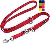DDOXX Hundeleine Nylon, 3fach verstellbar, 2m   für kleine & große Hunde   Doppel-Leine Zwei Hund Katze Welpe   Schlepp-Leine groß   Führ-Leine klein   Lauf-Leine Welpen-Leine   S, Rot