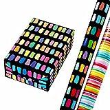 Geschenkpapier Set 2 Rollen (75 x 150 cm), Paletti, bunte Striche auf mattschwarzem Hintergrund + Louisdor, bunte Aquarell-Streifen. Für Geburtstag, Sommer, Ostern, Kinder.
