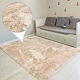 Amazinggirl Hochflor Teppich wohnzimmerteppich Langflor - Teppiche für Wohnzimmer flauschig Shaggy Schlafzimmer Bettvorleger Outdoor Carpet Beige 120x160