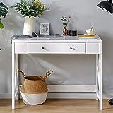 LongJiang Schreibtisch mit 1 Schubladen Computertisch Arbeitstisch Schminktisch Bürotisch aus Holz und Eiche Nordisches Design modern,100x48x78cm(BxTxH)