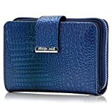 Leder Portemonnaie mit RFID, NFC Schutz - Reißverschluss Münzfach - Damen Geldbörse - Geldbeutel für Frauen (Blau)