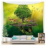WFSH Tapestry Fantasie Wald Cartoon Pflanzen Tapisserie Wand Hanging Schlafzimmer Wohnzimmer Tapisserie Schlafsaal Wanddekoration Tapisserie (Color : J, Size : 130cm*150cm)