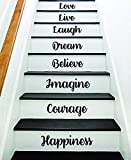 Glück Mut Phantasie Treppe Original Zitat Wandtattoo Aufkleber Raumkunst Vinyl Freude Frieden Fitness Familie Familie Haus Treppen lieben schöne inspirierende Lachen Liebesleben