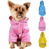 TSMALL Verstellbarer wasserdichter Regenmantel für Hunde mit Kapuze, reflektierende Hundemanteljacke, Regenjacke für Hunde, für kleine mittelgroße Hunde,Schwarz,S