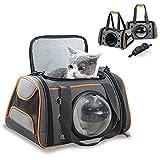 Haru Transporttasche für Katzen und Hunde, weiche Seiten, tragbare Tasche mit transparentem Platz Katzen, kleine Kätzchen oder Welpen, von Fluggesellschaften zugelassen, kann im Auto platziert werden