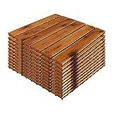 11 Stück Holzfliesen | ca. 1QM | 30x30cm Fliese | aus Akazienholz Terrassenboden Stecksystem individuell zuschneidbar FSC®-Zertifiziert