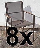 ASS 8Stk Designer Gartenstuhl mit Armlehne Kuba-BRAUN Gastroqualität Stapelsessel Gartensessel Stapelstuhl Sessel Edelstahl Batyline Textilene Teak stapelbar sehr rob