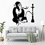 Wandaufkleber PVC Abnehmbare Wandtattoo Shisha Entspannung Arabischer Affe Familie Wohnzimmer Dekoration Interieur Art Deco Design 86X92cm