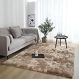 ZQWE Teppiche Wohnzimmer, Hochflor Teppich Wohnzimmerteppich, Hochflor Langflor Teppiche Modern,flauschig Shaggy Schlafzimmer Bettvorleger Pflegeleicht (Camel,80 x 200cm)