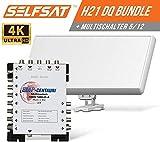 Selfsat H21DQ 8 TV Teilnehmer SAT Flachantenne Flat + Multischalter 5/8 Full HD 4K