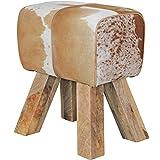 Wohnling Design Turnbock Sitzhocker Ziegenfell, braun/weiß, 40 x 30 x 47 cm
