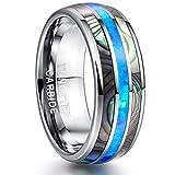 NUNCAD Wolfram Ring 8mm Silber mit Muschel & Opal Blau Herren Damen Unisex für Hochzeit Verlobung Partner Valentinstag Größe 63 (23)