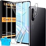 [2+2 Pack] UnqiueMe 2 Pack Schutzfolie Kompatibel mit Huawei P30 Pro Folie und 2 Pack Panzerglas Kamera Schutz, Displayfolie [Maximale Reichweite] [Blasenfrei] Soft HD TPU Klar Displayschutz