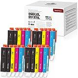 20 BeneToner 550XXL 551 XXL Ersatz für Canon PGI-550 CLI-551 Druckerpatrone Kompatibel mit Canon PIXMA IP7250 IP8750 MX925 MG5650 IX6850 MX725 MG5550 MG6350 MG6450 MX920
