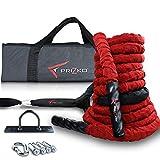 Prizko Pro Battle Rope Set (rot) Strapazierfähiges Übungsseil mit Wandschnalle: Anchor Strap Kit und Tragetasche - 9 m Poly Dracon Battle Rope für Stärke, Cardio-Workout, Crossfit, 3,8 cm D