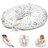 Stillkissen Schwangerschaftskissen zum Schlafen Seitenschläferkissen - Lagerungskissen für Baby XXL Pregnancy Pillow Oeko-Tex Weiß mit Eulen