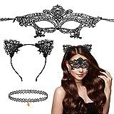 CHALA 3TLG Katzenkostüm Damen Set Reizvolle Spitzen Katzenohren Haarreif Catwoman Ohren mit Sexy Katzenmaske Halskette Cat Ear Stirnband Süße Kostüm für Halloween Fasching Karneval Masquerade Cosplay
