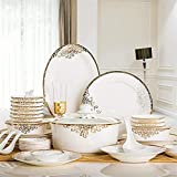 JXH Geschirrset Porzellan, Keramik Geschirr Set mit 48-stück, Schüssel/Teller/Löffel | Bone China Dinner Sets, europäischer Stil Porzellan-Kombinationsset, weiß, Euro Ceramica.