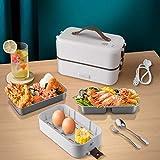 ShiniUni Elektrische Lunchbox Speisenwärmer & Mini Dampfgarer, 230V 300W 3 IN 1 Lunchbox Elektrisch Edelstahl Geschirr für Büro & Unterweg