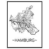 Stadtplan Poster Hamburg | hochwertige Wanddeko DIN A3 Wandbild Wohnzimmer Wohnung Glasrahmen Premium-Qualtität Galerie-Rahmen deutsche Manufaktur Fotopapier