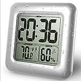 WLXJDJ Badezimmer Duschuhr digitaler elektronischer Uhr mit einem F/C-Thermohygrometer 12 / 24H wasserdichte Sprühsauger-Wand montiert für Wohnzimmer, Schlafzimmer, Küche, Zuhause