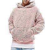 PANBOB Pullover Herren Hoodie Herren Sport Lässig Komfortabel Warm Polar Fleece Langarm Frühling Und Herbst Mode Kordelzug Känguru Tasche Klassisches Herren Sweatshirt D-Pink XXL