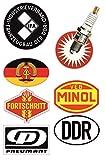 24/7stickers #693 / DDR Aufkleber Set 2 Breite je 6,5cm VEB IFA DDR Oldtimer MINOL Retro Vintage Osten für Trabant Barkas Wartburg Simson usw