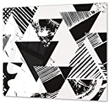 Herdabdeckplatte Schneidebrett aus Glas Universal 1-Teilig   60x52 cm Kochfeldabdeckung Ceranfeld Induktion Keramikherd Deko Digitale Dreiecke