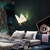 QEGY Schmetterling Wandleuchte Innen Gold LED, Wandlampe Schlafzimmer Warmweiß, WandLicht Flur mit Einstellbar Bunt Acryl Lampenschirm, Bett Wandbeleuchtung, 600 lumen,B