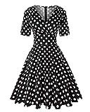 MINTLIMIT Vintage 1950s Rockabilly Polka Dots Audrey Kleid Retro Cocktailkleider, XXL, Polka Dots_schwarz