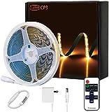 CP3 COB LED Streifen Kaltweiß 5000K, Dimmbar 12V Flexibel LED Strip lights Set mit RF Fernbedienung und GS Netzteil,CRI 80+ Hell Unterbauleuchte für Schlafzimmer Küche Home DIY Spiegel Deko
