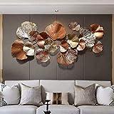 TTIK Wanddeko Metall, Extravagante Kreative Golden Ginkgo Leaf Large Dekorativ Wandbild Metallbild 3D Metallwanddekoration Kunst Wandskulpturen Wohnkultur, 136C
