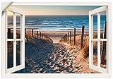 Artland Wandbild selbstklebend Vinylfolie 100x70 cm Fensterblick Fenster Strand Düne Meer Maritim Landschaft Küste Natur T6BV