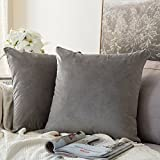 MIULEE 2er Set Samt Soft Solid Dekorative Quadrat Wurf Kissenbezüge Set Kissen Fall für Sofa Schlafzimmer Grau 16x16 Zoll 40x40 cm