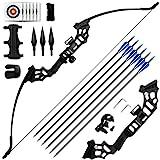 REAWOW 30/40LBS Recurve Bows Bogenschießset,Survival Longbow Right Hand mit verwendet für Recurve Bow Zielübungen Outdoor Hunting Archery Carbon Arrows und Armguard und Finger Tab.
