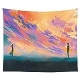 Bunter Wandbehang Wandteppich Indischer Mandala Himmel Sonnenuntergang Wandteppich Boho dekorative Wandverkleidung Hintergrund Stoff A12 150x200cm
