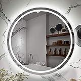 Runder LED-Badezimmerspiegel beleuchtet mit 3 Hellen Farben LED-Licht Badezimmer Smart Makeup Kosmetikspiegel Touch Dimmble Schalter Farbtemperaturänderung IP44