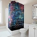 Knowikonwn Duschvorhang, witzig, Mathematik-Formeln, Retro-Stil, wasserdicht, Ringe inklusive, Universum, für Gäste-WC, 91 x 180 cm, Weiß