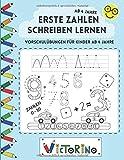 Erste Zahlen schreiben lernen - Vorschulübungen für Kinder ab 4 Jahre: Vorschulbuch mit Schwungübungen zum einfachen Zahlen schreiben lernen (Kindergarten + Vorschule)