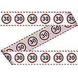 Folat 28430 Party Absperrband Verkehrsschild-15 m-Zahl: 30